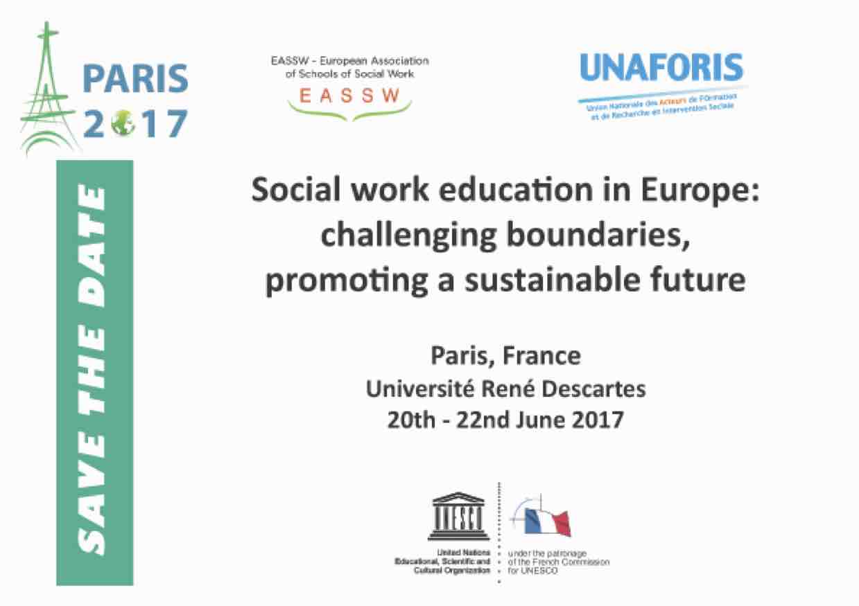 EASSW conference 2017: Social work education in Europe: challenging boundaries, promoting a sustainable future